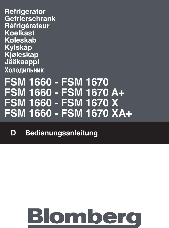 Blomberg FSM 1670 manual