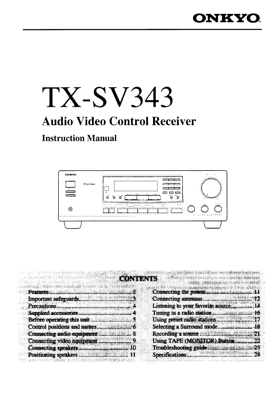 onkyo tx sv343 manual rh pdfmanualer dk Onkyo TX5 Onkyo TX 8511 Manual