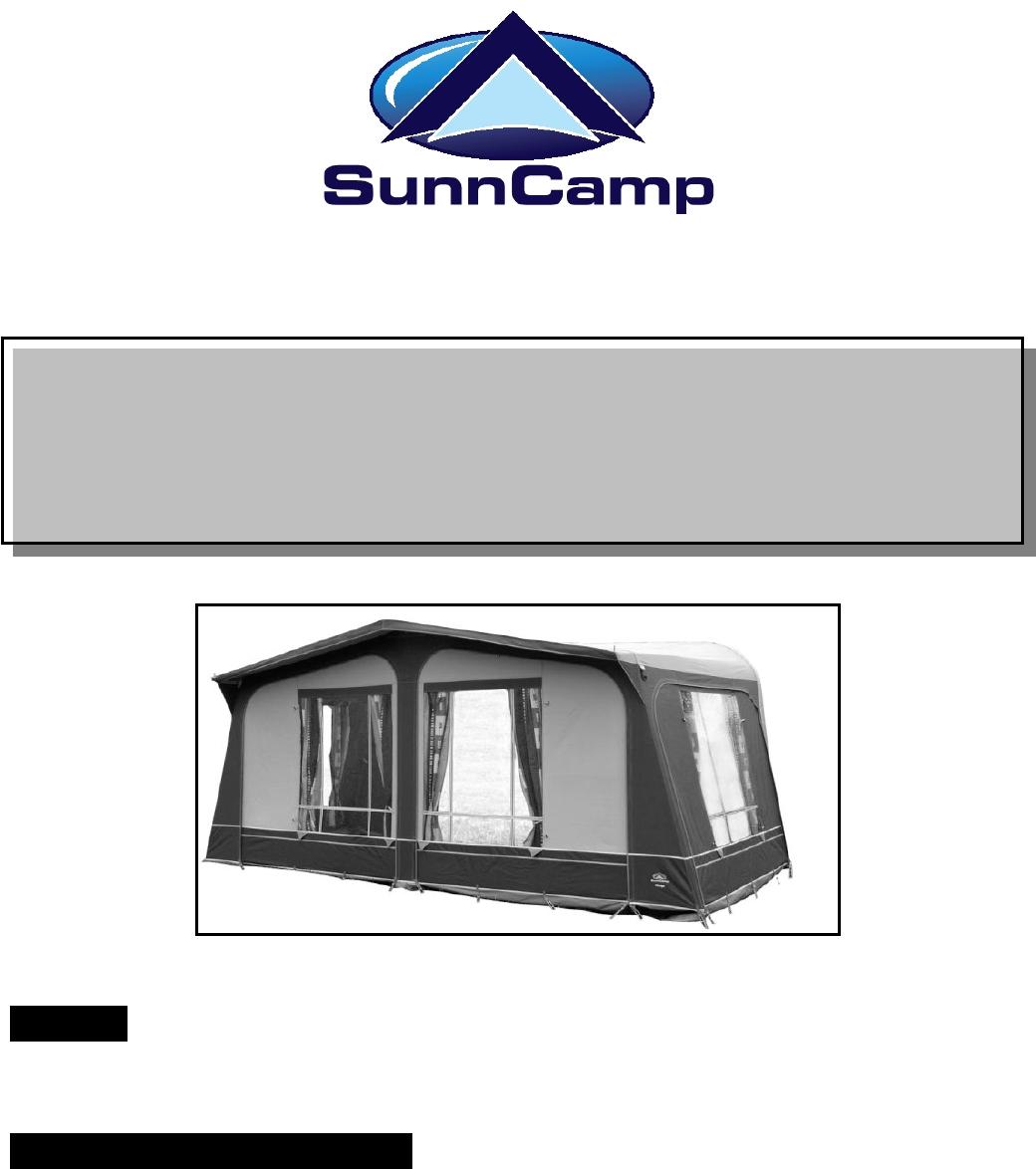 SunnCamp Mirage handleiding (9 pagina's)