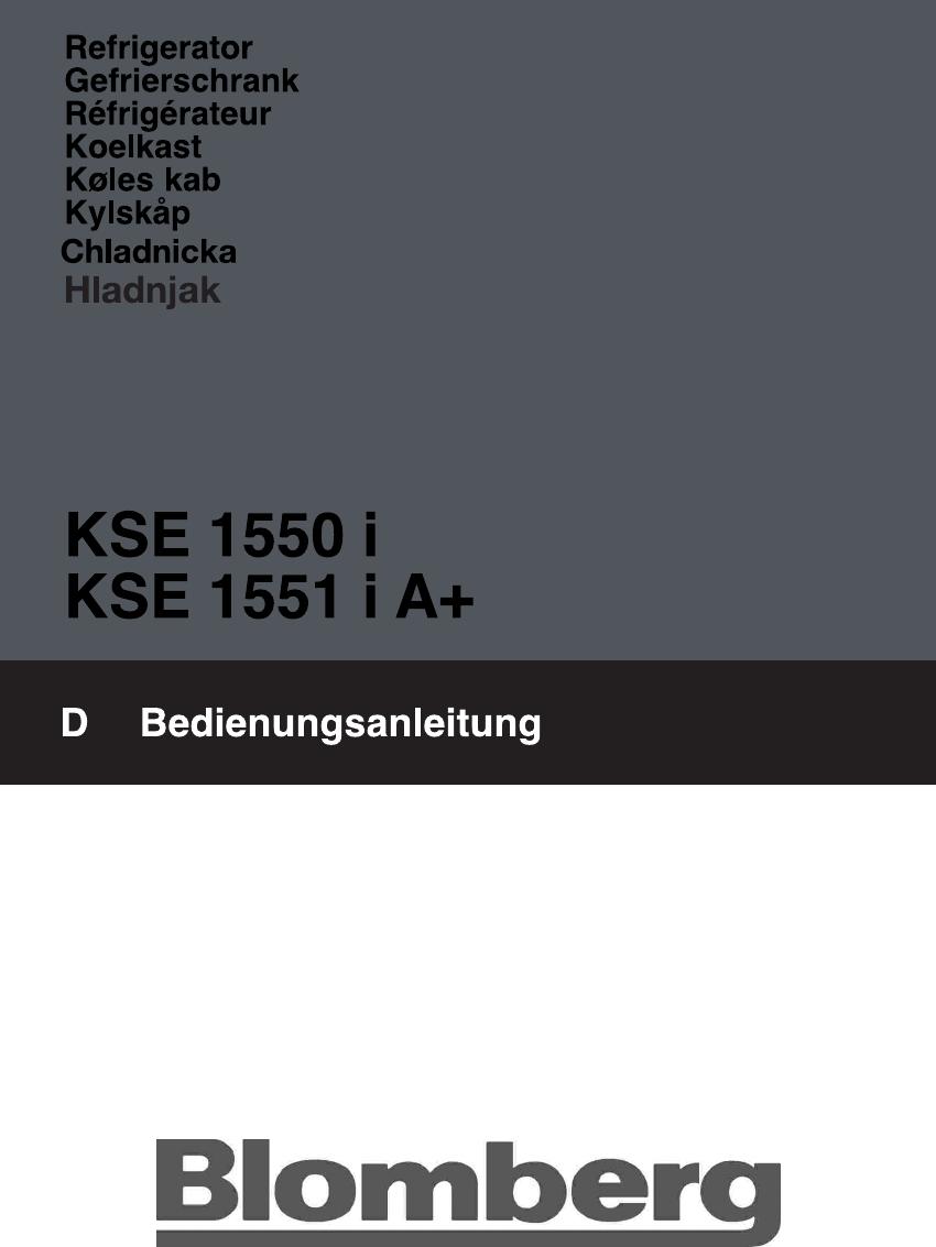 Blomberg KSE 1551 i A+ Bedienungsanleitung